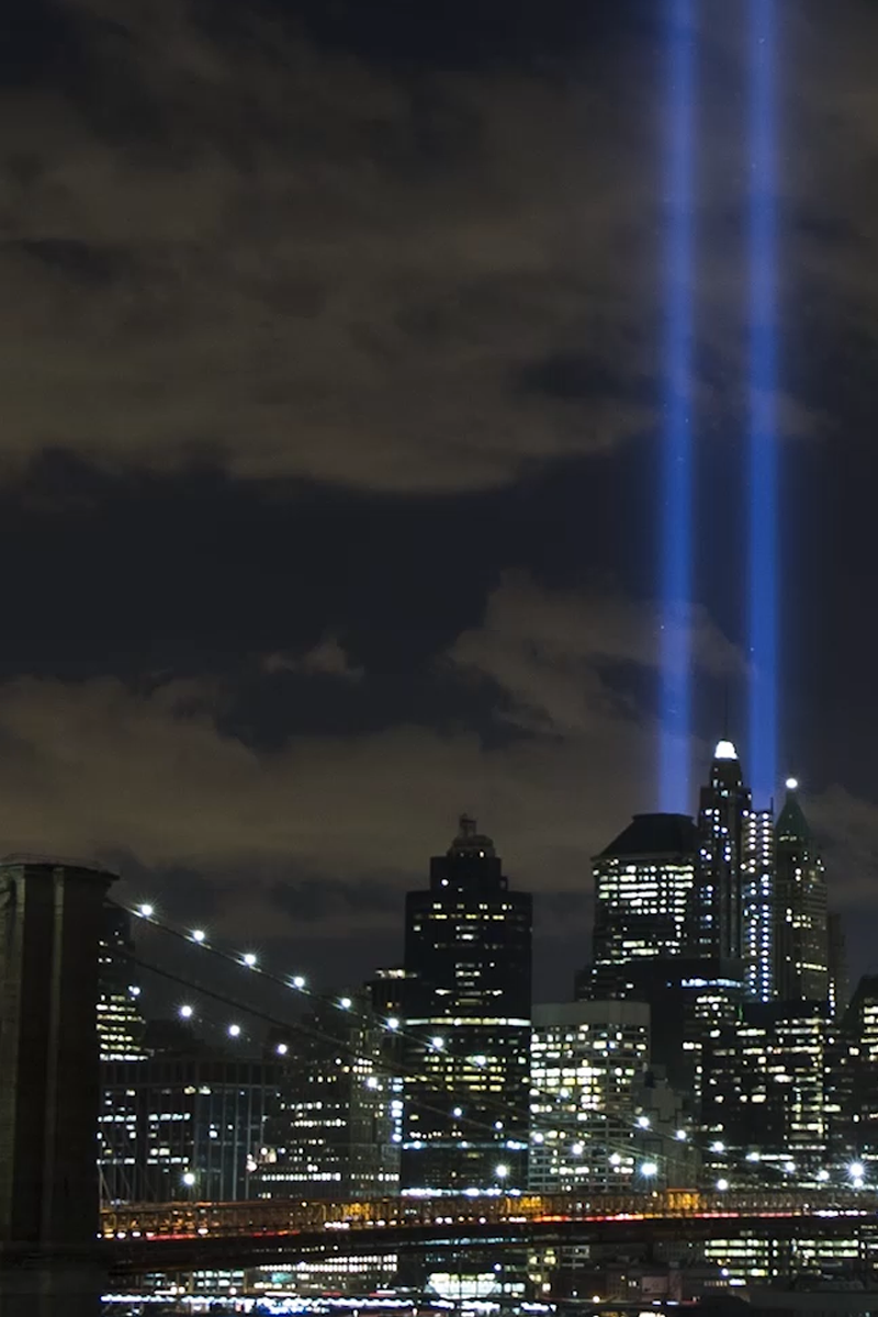 see the tribute in light at the world trade center come together